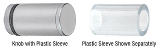 CRL Satin Chrome Cylinder Style Single-Sided Shower Door Knob with Plastic Sleeve CRL SDKP212SC