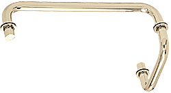 "CRL Polished Nickel 12"" Towel Bar with 6"" Pull Handle Combination Set CRL SDP6TB12PN"