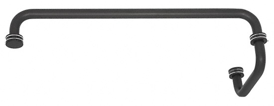 "CRL Black 18"" Towel Bar with 6"" Pull Handle Combination Set CRL SDP6TB18BL"