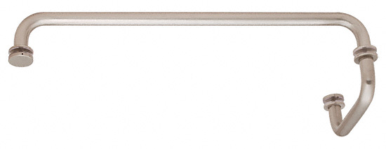"CRL Brushed Nickel 18"" Towel Bar with 6"" Pull Handle Combination Set CRL SDP6TB18BN"