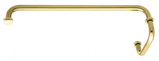 "CRL Polished Brass 18"" Towel Bar with 6"" Pull Handle Combination Set CRL SDP6TB18BR"