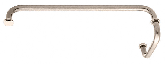 "CRL Polished Nickel 18"" Towel Bar with 6"" Pull Handle Combination Set CRL SDP6TB18PN"