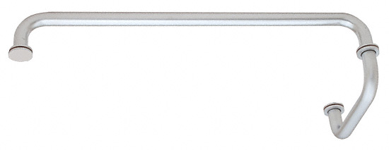 "CRL Satin Chrome 18"" Towel Bar with 6"" Pull Handle Combination Set CRL SDP6TB18SC"