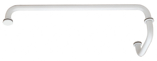 "CRL White 18"" Towel Bar with 6"" Pull Handle Combination Set CRL SDP6TB18W"