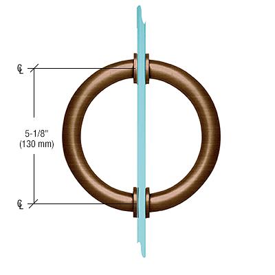 "CRL Antique Bronze 5-1/8"" Tubular Back-to-Back Circular Style Brass Shower Door 3/4"" Diameter Pull Handles CRL SDPC575ABRZ"