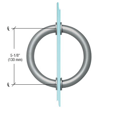 "CRL Brushed Nickel 5-1/8"" Tubular Back-to-Back Circular Style Brass Shower Door 3/4"" Diameter Pull Handles CRL SDPC575BN"
