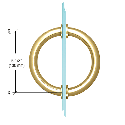 "CRL Polished Brass 5-1/8"" Tubular Back-to-Back Circular Style Brass Shower Door 3/4"" Diameter Pull Handles CRL SDPC575BR"