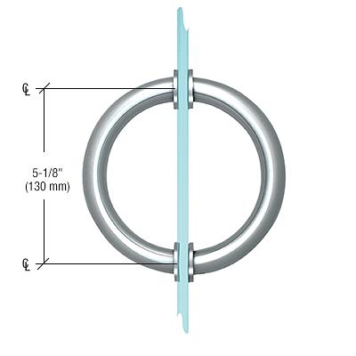 "CRL Polished Chrome 5-1/8"" Tubular Back-to-Back Circular Style Brass Shower Door 3/4"" Diameter Pull Handles CRL SDPC575CH"