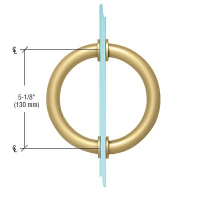 "CRL Satin Brass 5-1/8"" Tubular Back-to-Back Circular Style Brass Shower Door 3/4"" Diameter Pull Handles CRL SDPC575SB"
