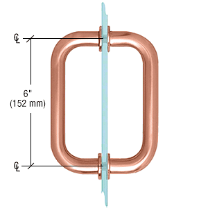 "CRL Brushed Copper 6"" Tubular Back-to-Back 3/4"" Diameter Shower Door Pull Handles CRL SDPR6BC0"