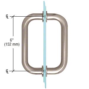 "CRL Brushed Nickel 6"" Tubular Back-to-Back 3/4"" Diameter Shower Door Pull Handles CRL SDPR6BN"