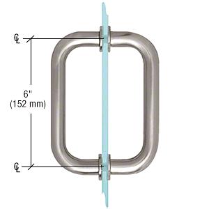 """CRL Brushed Satin Chrome 6"""" Tubular Back-to-Back 3/4"""" Diameter Shower Door Pull Handles CRL SDPR6BSC"""