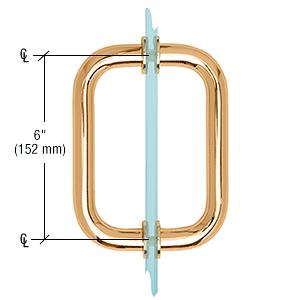 "CRL Gold Plated 6"" Tubular Back-to-Back 3/4"" Diameter Shower Door Pull Handles CRL SDPR6GP"
