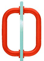 6 inch Red Tubular Back-to-Back 3/4 inch Diameter Shower Door Pull Handles - CRL SDPR6RD