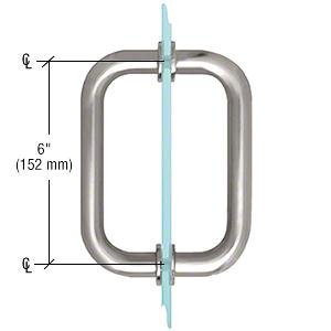 """CRL Satin Chrome 6"""" Tubular Back-to-Back 3/4"""" Diameter Shower Door Pull Handles CRL SDPR6SC"""