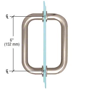"CRL Satin Nickel 6"" Tubular Back-to-Back 3/4"" Diameter Shower Door Pull Handles CRL SDPR6SN"