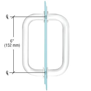 """CRL White 6"""" Tubular Back-to-Back 3/4"""" Diameter Shower Door Pull Handles CRL SDPR6W"""
