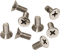 CRL Polished Nickel 6 x 12 mm Cover Plate Flat Head Phillips Screws CRL P612PN
