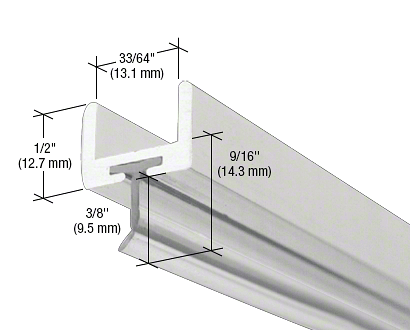 """CRL Brite Anodized Frameless Shower Door Aluminum U-Channel With Wipe for 1/2"""" Thick Glass CRL SDW12BA"""