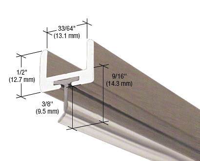 """CRL Brushed Nickel Frameless Shower Door Aluminum U-Channel With Wipe for 1/2"""" Thick Glass CRL SDW12BN"""