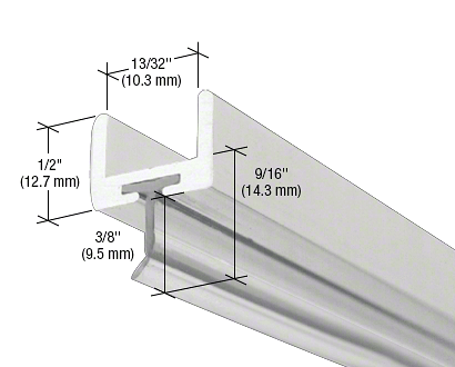 """CRL Brite Anodized Frameless Shower Door Aluminum U-Channel With Wipe for 3/8"""" Thick Glass CRL SDW38BA"""