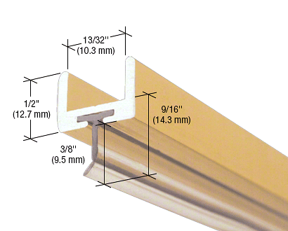 """CRL Brite Gold Anodized Frameless Shower Door Aluminum U-Channel With Wipe for 3/8"""" Thick Glass CRL SDW38BGA"""