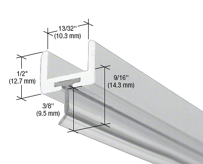 "CRL Satin Chrome Frameless Shower Door Aluminum U-Channel With Wipe for 3/8"" Thick Glass CRL SDW38SC"