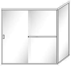 SFL22 Semi-Frameless Double Sliding Glass Shower Doors with 90 Degree Return Panel - Shower Head on Left