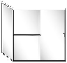 SFL22 Semi-Frameless Double Sliding Glass Shower Doors with 90 Degree Return Panel - Shower Head on Right