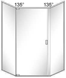 SFL5 Semi-Frameless Neo-Angle Glass Shower Door with 135 Degree Return Panels - Pivots on Left