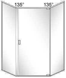SFL5 Semi-Frameless Neo-Angle Glass Shower Door with 135 Degree Return Panels - Pivots on Right