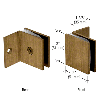 CRL Antique Brass Fixed Panel Square Clamp With Small Leg CRL SGC037ABR