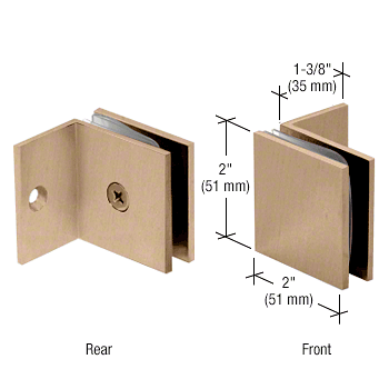 CRL Brushed Bronze Fixed Panel Square Clamp With Small Leg CRL SGC037BBRZ