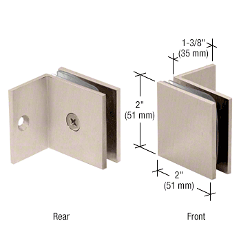 CRL Brushed Nickel Fixed Panel Square Clamp With Small Leg CRL SGC037BN