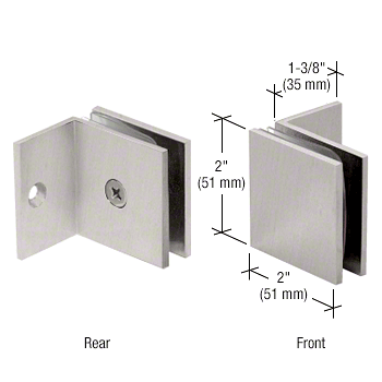 CRL Brushed Satin Chrome Fixed Panel Square Clamp With Small Leg CRL SGC037BSC