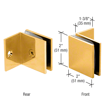 CRL Gold Plated Fixed Panel Square Clamp With Small Leg CRL SGC037GP