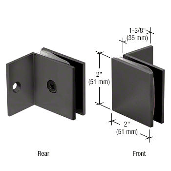 CRL Matte Black Fixed Panel Square Clamp With Small Leg CRL SGC037MBL