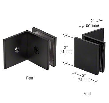 CRL Matte Black Fixed Panel Square Clamp With Large Leg CRL SGC039MBL