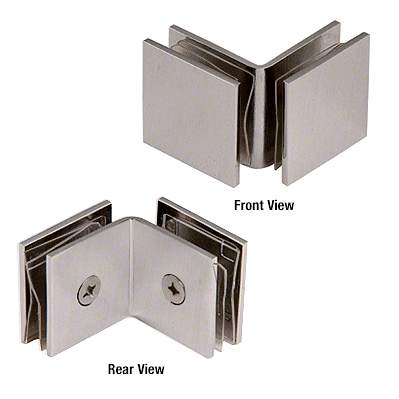 CRL Brushed Nickel Open Face 90 Degree Square Glass Clamp CRL SGC0F90BN