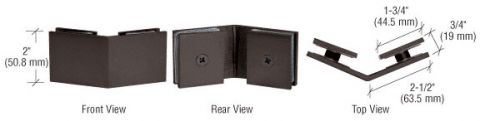 Oil Rubbed Bronze Square 135 Degrees Glass-to-Glass Clamp - CRL SGC135ORB