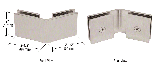CRL Brushed Nickel Square 135 Degree Glass-to-Glass Clamp CRL SGC135BN