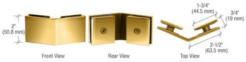 Brass Square 135 Degrees Glass-to-Glass Clamp - CRL SGC135BR