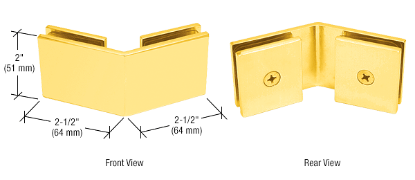 CRL Gold Plated Square 135 Degree Glass-to-Glass Clamp CRL SGC135GP