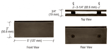 CRL Brushed Bronze Square 180 Degree Glass-to-Glass Clamp CRL SGC180BBRZ
