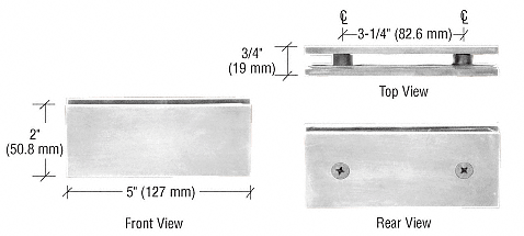 CRL Brushed Nickel Square 180 Degree Glass-to-Glass Clamp CRL SGC180BN