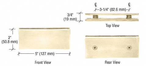 CRL Polished Brass Square 180 Degree Glass-to-Glass Clamp CRL SGC180BR