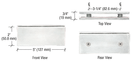 CRL Brushed Satin Chrome Square 180 Degree Glass-to-Glass Clamp CRL SGC180BSC