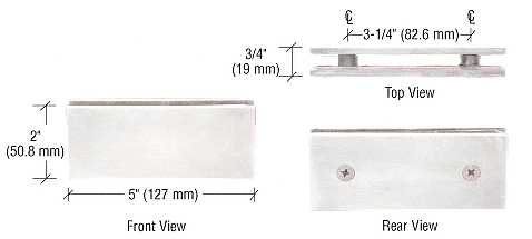CRL Polished Chrome Square 180 Degree Glass-to-Glass Clamp CRL SGC180CH