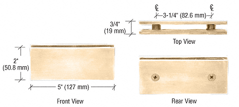 CRL Gold Plated Square 180 Degree Glass-to-Glass Clamp CRL SGC180GP