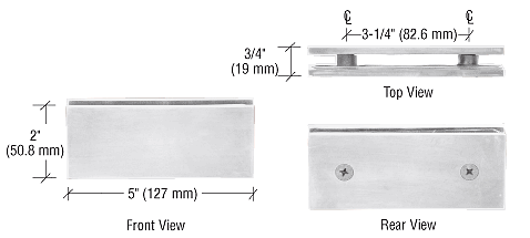 CRL Polished Nickel Square 180 Degree Glass-to-Glass Clamp CRL SGC180PN